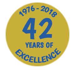 42 years of excellence badge